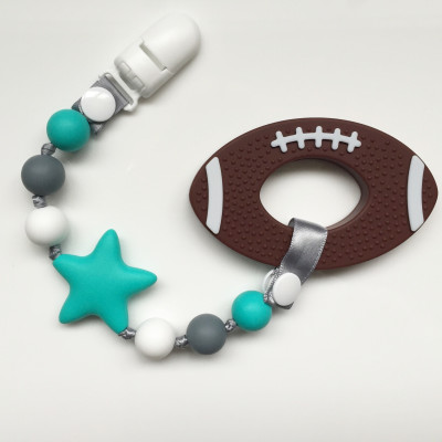 Football Teether and Pacifier Clip Set - Itybity