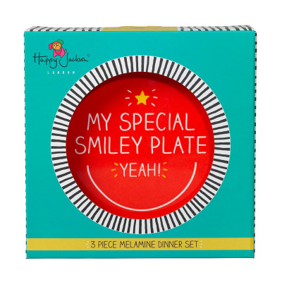 """طقم مكون من 3 قطع أدوات مائدة للأطفال من هاپي چاكسون - """"Smiley"""""""