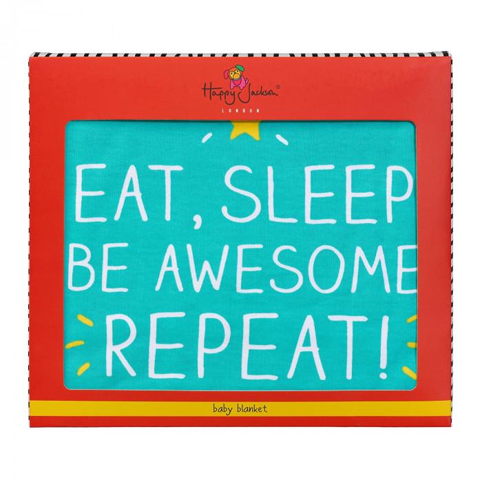 """بطانية للأطفال الرضع من هاپي چاكسون - """"Eat, Sleep"""""""
