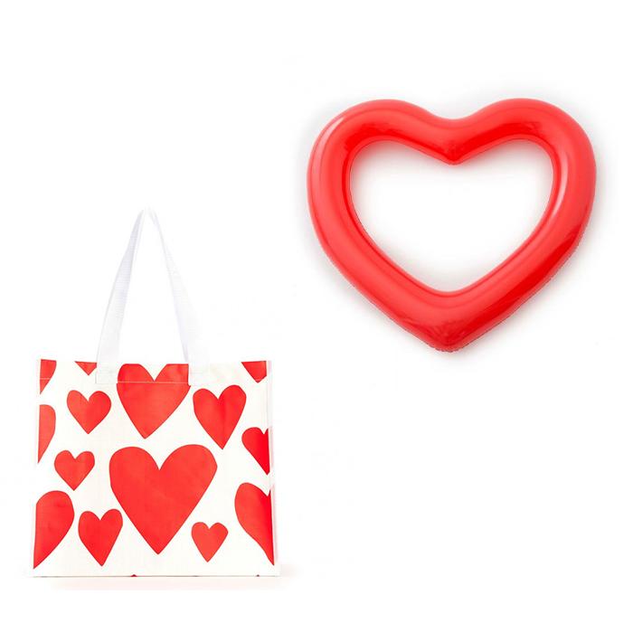 حقيبة التسوق إكستريم سوبركيوت بنقشات القلوب الحمراء + طوق نجاة على شكل قلب من بندو