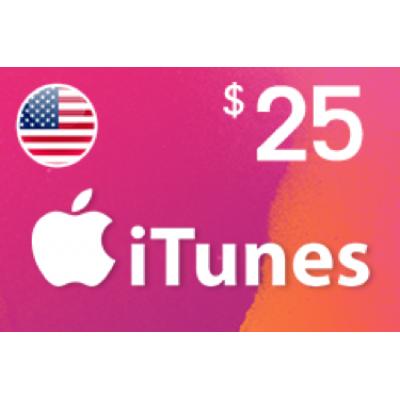 بطاقة آيتونز بقيمة 25 دولار متوافقة مع الستور الأمريكي (تسليم الكود عبر البريد الإلكتروني) السعر شامل لضريبة القيمة المضافة