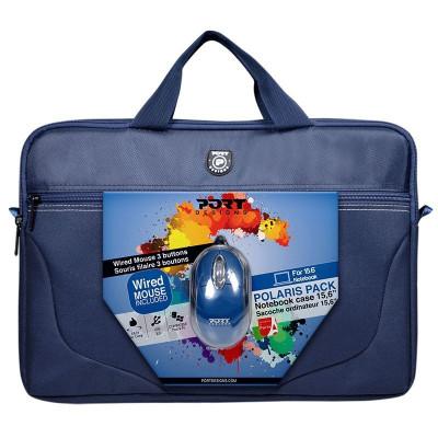 حقيبة و فأرة يو اس بي من بورت ديزاينز - لون أزرق