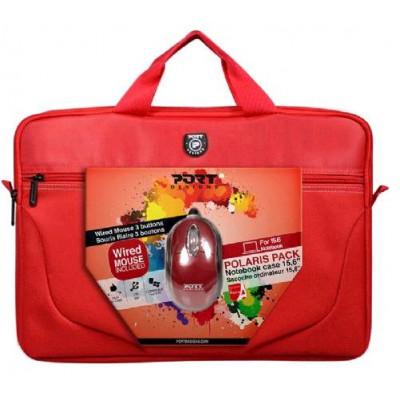 حقيبة و فأرة يو اس بي من بورت ديزاينز - لون أحمر