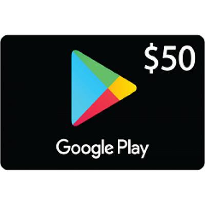 بطاقة قوقل بلاي بقيمة 50$ متوافقة مع المتجر الأمريكي (تسليم الكود عبر البريد الإلكتروني) السعر شامل لضريبة القيمة المضافة