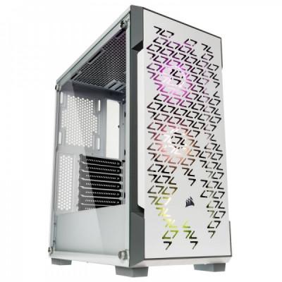 صندوق الكمبيوتر الذكي iCUE 220T RGB Airflow TG Mid-Tower أبيض من كورسير