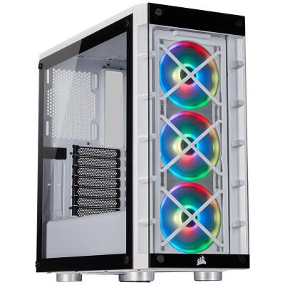صندوق الكمبيوتر الذكي iCUE 465X RGB Mid-Tower ATX أبيض من كورسير