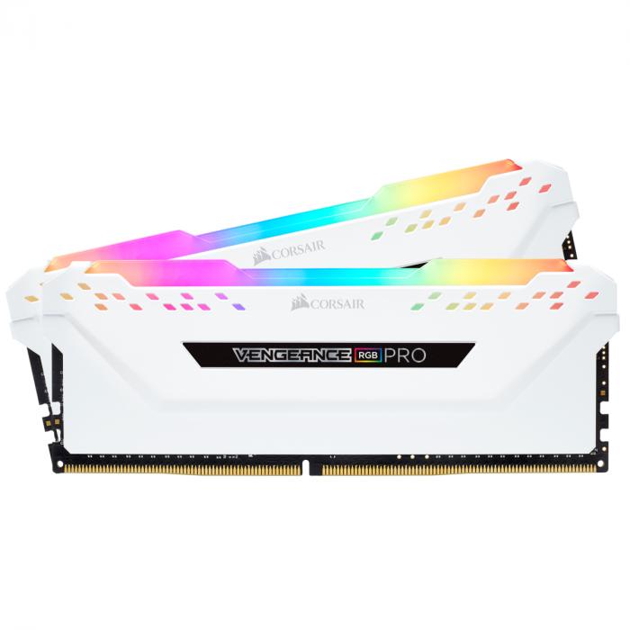 ذاكرة VENGEANCE® RGB PRO 16 جيجابايت (2 × 8 جيجابايت) ذاكرة DDR4 DRAM 3200 ميجاهرتز C16  من كورسير - أبيض