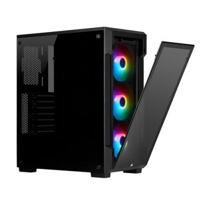 صندوق الكمبيوتر الذكي  iCUE 220T RGB Tempered Glass Mid-Tower أسود