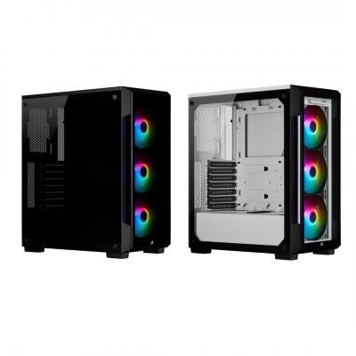 صندوق الكمبيوتر الذكي  iCUE 220T RGB Tempered Glass Mid-Tower أسود / أبيض