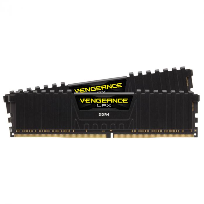 VENGEANCE® LPX ذاكرة DDR4 DRAM 2666 ميجاهرتز C16 سعة 16 جيجابايت (2 × 8 جيجابايت) من كورسير – أسود