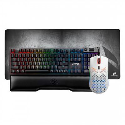 ماوس الألعاب من قلوريوس موديل O مطفي - لبادة ماوس MM350 Premium Anti-Fray Cloth Gaming Mouse Pad – Extended XL من كورسير - لوحة مفاتيح الألعاب XPG SUMMONER الميكانيكية من أداتا (سلفر سويتش)