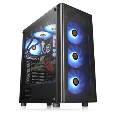 Thermaltake V200 Tempered Glass RGB Edition 12V MB Sync Capable ATX Mid-Tower Chassis صندوق الكمبيوتر