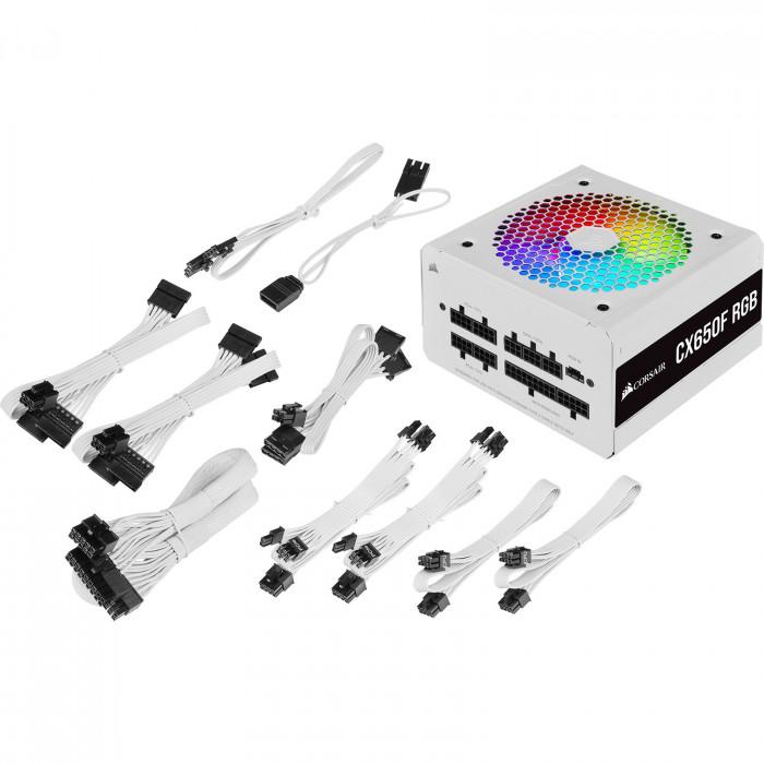 مزود الطاقة من كورسير ابيضCX Series™ CX650F RGB ابيض  — 650 Watt 80 Plus® Bronze  Certified Fully Modular RGB White PSU (UK)