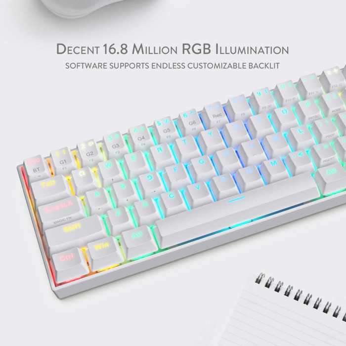 ريدراجون   لوحة مفاتيح ميكانيكية   K530 Draconic 60٪ Compact RGB Wireless أبيض