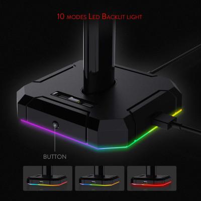 ريدراجون | حامل سماعة الرأس | Sceptre PRO HA300 مع 10 أوضاع إضاءة RGB و 4 منافذ USB