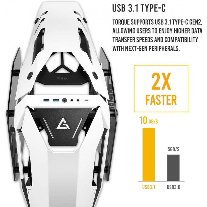 انتيك | صندوق للكمبيوتر | Torque White / Black Aluminum ATX Mid Tower