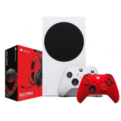 X BOX BUNDLE 1 | اكس بوكس اس 512 Gb + يد تحكم اكس بوكس احمر + HS35 سماعة الألعاب كورسير