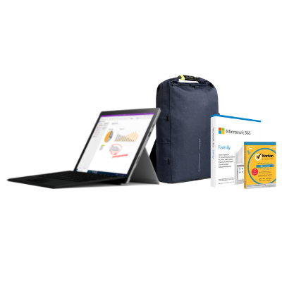 مايكروسوفت سيرفس  Pro7 i5, 8GB Ram 128GB S بلاتينيوم + Office M365 Family  مع TypeCover و برنامج Norton Anti-Virus مجانًا  + حقيبة بوبي المحكمة والمقاومة للسرقة