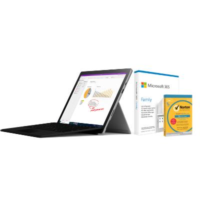مايكروسوفت سيرفس Pro 7 i5, 8GB RAM 256GB Black + كيبورد مايكروسوفت عربي + Office M365 Family P6 Eng مع TypeCover و برنامج Norton Anti-Virus مجانًا