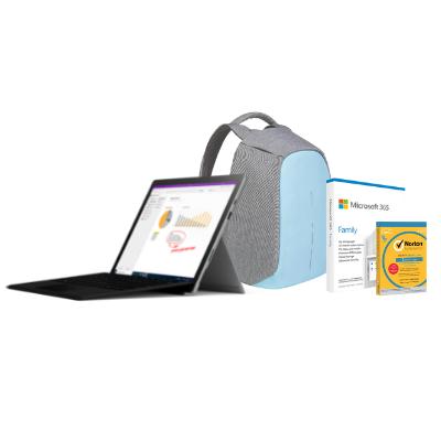 مايكروسوفت سيرفس Pro7 i7, 16GB RAM 256GB  اسود  + Office M365 Family P6 Eng  مع TypeCover و برنامج Norton Anti-Virus مجانًا + حقيبة بوبي المحكمة والمقاومة للسرقة