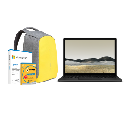 مايكروسوفت سيرفس Laptop 3 13in i5, 8GB Ram 256GB SSD Black + Office M365 Family P6 Eng  مع برنامج Norton Anti-Virus مجاني + حقيبة بوبي المحكمة والمقاومة للسرقة