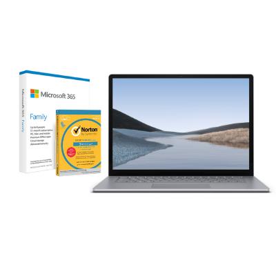 مايكروسوفت سيرفس Laptop 3, 13in i5, 8GB RAM, Platinum + Office M365 Family P6 Eng  مع برنامج Norton Anti-Virus مجاني