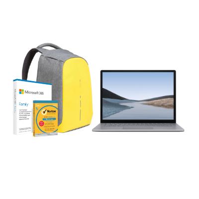 مايكروسوفت سيرفس Laptop 3, 13in i5, 8GB RAM, Platinum + Office M365 Family P6 Eng  مع برنامج Norton Anti-Virus مجاني + حقيبة بوبي المحكمة والمقاومة للسرقة