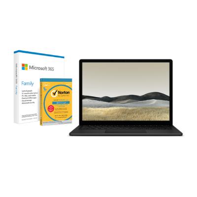 مايكروسوفت سيرفس Laptop 3, 13in i5, 8GB RAM, 256GB اسود  + Office M365 Family P6 Eng  مع برنامج Norton Anti-Virus مجاني
