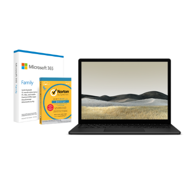 مايكروسوفت سيرفس Laptop 3, 13in, Core i7, 16GB RAM, 13.5, اسود  + Office M365 Family P6 Eng  مع برنامج Norton Anti-Virus مجاني