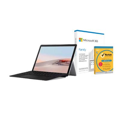 مايكروسوفت سيرفس جو 2 بلاتينيوم 128 جيجا ، 8 جيجا رام + Office M365 Family P6 Eng مع TypeCover و برنامج Norton Anti-Virus مجانًا