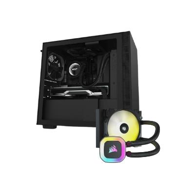 صندوق الكمبيوتر NZXT  H210 Mini ITX الأسود مع مبرد وحدة المعالجة المركزية من كورسير H55 RGB 120mm