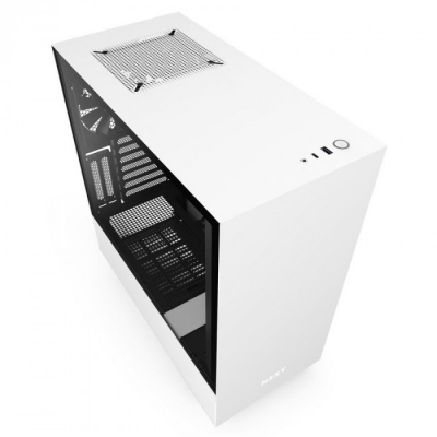 صندوق الكمبيوتر NZXT H510i متوسط البرج مع مزود الطاقة من كورسير CX-F RGBCX750F RGB 80 PLUS Bronze Fully Modular ATX PSU - ابيض