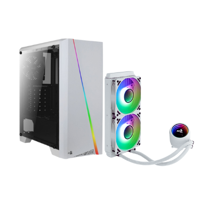 مجموعة 1  | صندوق للكمبيوتر Cylon White RGB Mid Tower  مع مبرد الوحدة المركزية السائل Mirage L240240MM ARGB  - أبيض