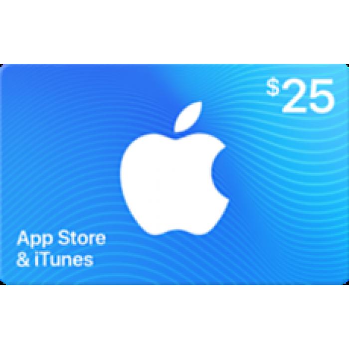 بطاقة آيتونز بقيمة 25$ (تسليم الكود عبر البريد الإلكتروني) السعر شامل لضريبة القيمة المضافة