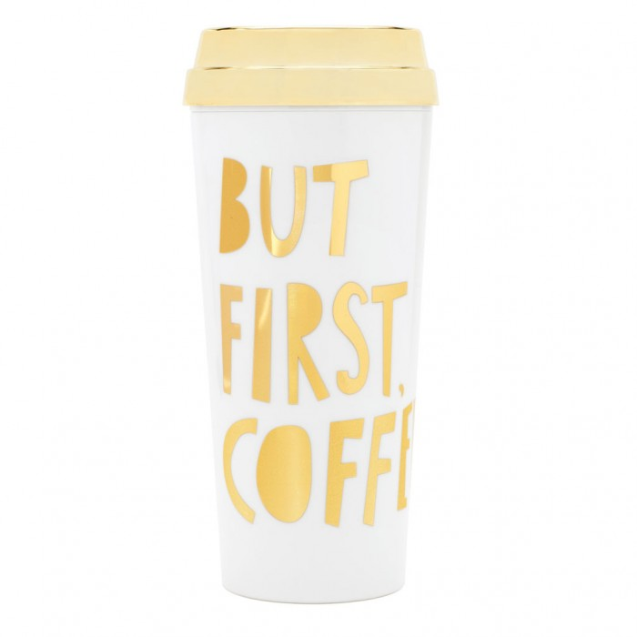 "كوب حراري فاخر من بان.دو - ""But First Coffee"" - ذهبي ميتاليك"