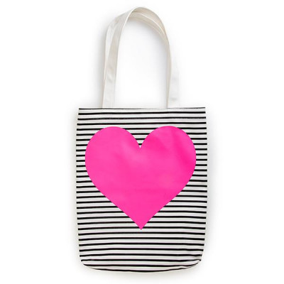 Tote - Neon Heart With Stripes